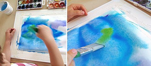 rozpíjený akvarel