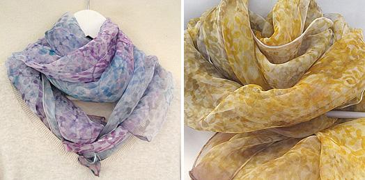 Velký barvený a malovaný šál z jemného hedvábného šifonu od zuziky. bdf81e879f